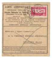 1930 - CARTE AEROPOSTALE FRANCE MAROC VINCENNES CASABLANCA AFFRANCHIE TIMBRE POSTE AERIENNE PA N° 5 - 1921-1960: Modern Period
