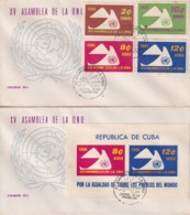 1961-FDC-75 CUBA 1961 FDC ASAMBLEA DE LA ONU, PALOMA PIGEON BIRD + 1 SHEET - FDC