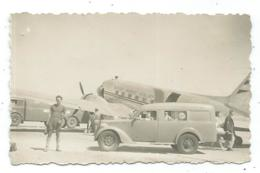 ANCIENNE PHOTO PALERMO 1950, AVION LINEE AEREE ITALIANE, CAMIONNETTE, FOURGONNETTE, PALERME, SICILE, ITALIE - Aerodromi