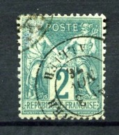 62 - 2c Vert Sage Type I (N/B) - Oblitéré - Léger Pelurage En Haut à Gauche - 1876-1878 Sage (Type I)