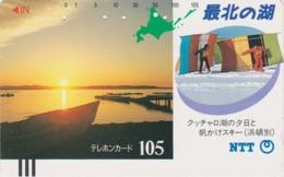 Télécarte Ancienne Japon / NTT 430-040 ** MATE **  HOKKAIDO - COUCHER DE SOLEIL - SUNSET JAPAN Front Bar Phonecard - Japan