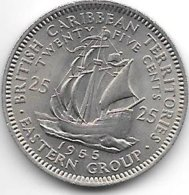 *east Caribbian States 25 Cents 1955 Km  6 Xf+ - Oost-Caribische Staten
