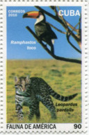 Lote CU2016-10, Cuba, 2016, Sello, Stamp, Fauna De America, 4 V, Bird, Fish, Manati, Leopard, Bison - Cuba