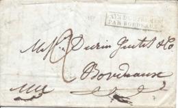 PAYS D'OUTEMER / PAR BORDEAUX Départ Inde Du 21/01/1829 Confiée Au Capitaine Allegre Vapeur Général Foy Arrivée 19/5/29 - Marcophilie (Lettres)