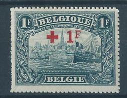 Belgique Belgïe COB 160 MH* Cote 54 € - 2 - 1918 Rotes Kreuz