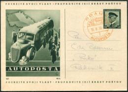 "BUS Mobile Post Office Czechoslovakia 1938 PRAHA AUTOPOSTA ""f"" Illustrated Stationery Card Autobus Automobil-Postbureau - Busses"