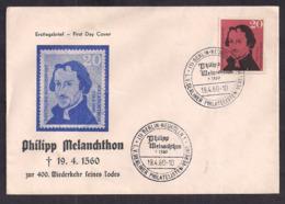 Deustche Bundespost - 1960 - FDC - Philipp Melanchthon - Altphilologe, Philosoph, Humanist, Lutherischer Theologe - Christianisme