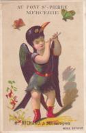 CHROMO MERLE SIFFLEUR Petit Garçon Oiseau Pub Mercerie Au Pont St Pierre H. MiCHARD à Montluçon - Autres