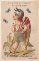 CHROMO MOINEAU PIERROT Petit Garçon Oiseau Pub Mercerie Au Pont St Pierre H. MiCHARD à Montluçon - Autres