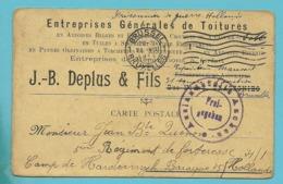 Kaart (verso Trazegnies)  Stempel BRUXELLES 1915 Naar Camp De HARDERWIJK+Freigegeben AACHEN - WW I
