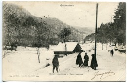Pionnière 1902 * GERARDMER Entre LONGEMER Et RETOURNEMER ( Animée Neige ) Cachet Gare Saint Dié + Lunéville à St Dié - Gerardmer