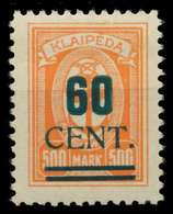 MEMEL 1923 Nr 237I Ungebraucht Gepr. X881F82 - Memel
