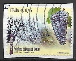 ITALIA  2015 LE ECCELLENZE DEL SISTEMA PRODUTTIVO VINI DOCG SASS. 3619 USATO VF SU FRAMMENTO - 2011-...: Usati