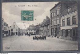 Carte Postale 59. Halluin Place De L'Eglise   Trés Beau Plan - Autres Communes