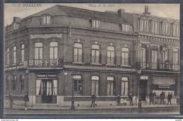 Carte Postale 59. Halluin Buffet Place De La Gare     Trés Beau Plan - Autres Communes