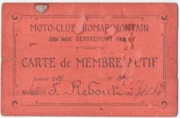 REMIREMONT (88) MOTO-CLUB ROMARIMONTAIN. CARTE De MEMBRE ACTIF. 1929. REBOUT Au VAL-d'AJOL (88) - Motos