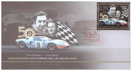 2018 FDC MÉXICO  50 Años Ganadores 24 Horas De Le Mans, PEDRO RODRÍGUEZ Y LUCIEN BIANCHI,  50 Anniv.  CAR RACES - México