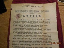 Document Italien De 1885  Affiche Administrative - Afiches