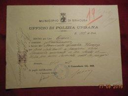 Document Italien De 1919  Municipalité De Syracusa - Documents Historiques