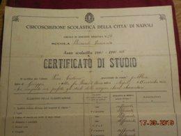 Document Italien De 1940/ 1941  Certificato Di Studio Della Citta Di Napoli - Diplômes & Bulletins Scolaires