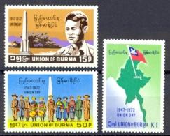 Burma Sc# 227-229 MH 1972 Definitives - Myanmar (Burma 1948-...)