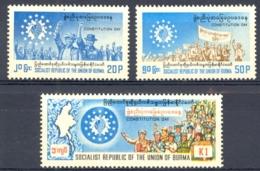 Burma Sc# 254-256 MNH 1976 Constitution Day - Myanmar (Birma 1948-...)