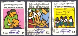 Burma Sc# 331-333 Used 1996 UNICEF 50th - Myanmar (Birmanie 1948-...)
