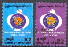 Burma Sc# 347-348 Used 1999 UPU 125th - Myanmar (Birmanie 1948-...)