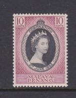 Malaysia-Penang SG 27 1953 Coronation,Mint Never Hinged - Penang