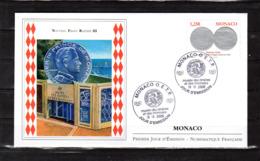 """"""" NOUVEAU FRANC RAINIER III """" Sur Enveloppe 1er Jour De 2008. Parfait état FDC - Münzen"""
