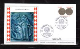 """"""" FRANC GERMINAL DE MONACO """" Sur Enveloppe 1er Jour De 2008. Parfait état FDC - Münzen"""