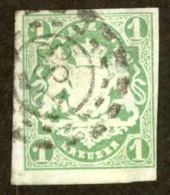 Germany Bavaria Sc# 15 Used (b) 1867-1868 1kr Yellow Green Coat Of Arms - Bayern