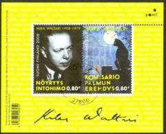 Finland Sc# 1319 Used Souvenir Sheet 2008 Mika Waltari - Finland