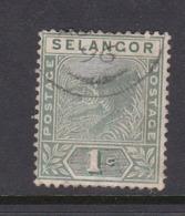 Malaysia-Selangor SG 49 1891 1c Green,used - Selangor