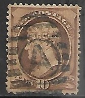 US  1882   Sc#209  10c  Brown No Grill  Used   2016 Scott Value $6 - Usados