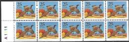 US  1988   Sc#2293a 25c Booklet Pane 10 Pheasants   MNH  Face Value $2.50 - Estados Unidos