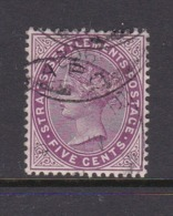 Malaysia-Straits Settlements SG 100 1899 Queen Victoria 5c Magenta,used - Straits Settlements