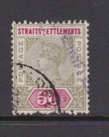 Malaysia-Straits Settlements SG 104 1892 Queen Victoria 50c Olive Green And Carmine,used - Straits Settlements