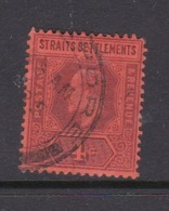 Malaysia-Straits Settlements SG 112 1902 King Edward VII,1902  4c Purple Red,used - Straits Settlements