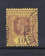 Malaysia-Straits Settlements SG 202 1912 King George V 10c Purple Yellow,used - Straits Settlements