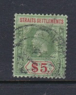 Malaysia-Straits Settlements SG 212 1915 King George V $ 5.00 Green And Red,used - Straits Settlements