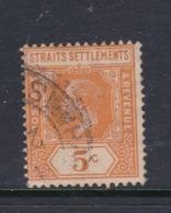 Malaysia-Straits Settlements SG 225 1921 King George V 5c Orange,used - Straits Settlements