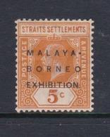 Malaysia-Straits Settlements SG 243 1922 Malaya-Borneo Exhibition,5c Orange,mint Hinged - Straits Settlements
