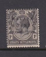 Malaysia-Straits Settlements SG 250 1922 Malaya-Borneo Exhibition,1c Black,mint Hinged - Straits Settlements