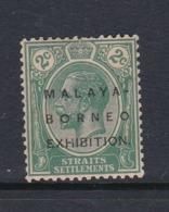 Malaysia-Straits Settlements SG 251 1922 Malaya-Borneo Exhibition,2c Green,mint Hinged - Straits Settlements