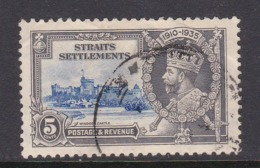 Malaysia-Straits Settlements SG 256 1935 Silver Jubilee,5c Ultramarine And Grey,used - Straits Settlements