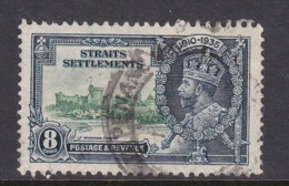 Malaysia-Straits Settlements SG 257 1935 Silver Jubilee,8c Green And Indigo,used - Straits Settlements