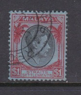Malaysia-Straits Settlements SG 290 1938 King George VI,$ 1.00 Black And Red,used - Straits Settlements