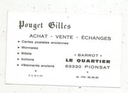 Carte De Visite , Type Cpa ,Pouget G. ,63 ,PIONSAT , Brocantage De Cheveux En  Auvergne,2 Scans - Cartes De Visite