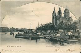 Postkaart Amsterdam Amsterdam Hafen, Dampfer - Nicolaas Kerk 1909 - Amsterdam